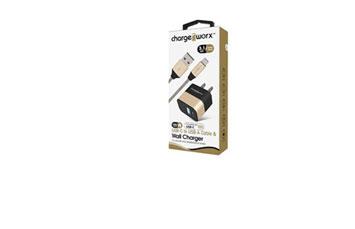 CARGADOR DE PARED + CABLE USB-C /USB-A, (3.1AMP), CHARGEWORX PARA SMARTPHONES & TABLETS, CABLE 3FT, DORADO, CARGA RAPIDA