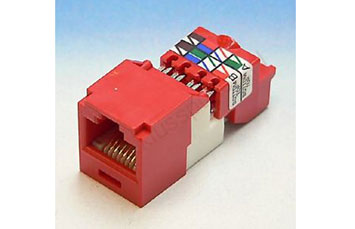 JACK MINI KEYSTONE PANDUIT CAT 5E ROJO TIPO T568 A / B (CJ5E88TRD)