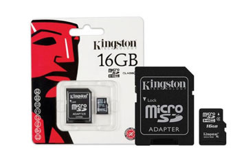 MEMORIA MICROSD 16GB KINGSTON, SDHC, CLASE 4. INCLUYE ADAPTADOR SD.