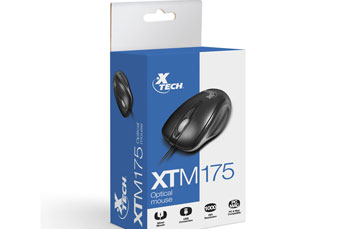 MOUSE XTECH OPTICAL SCROLL USB NEGRO (XTM-175)