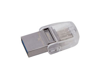 MEMORIA USB 32GB 3.0 KINGSTON, DATA TRAVELER MICRODUO 3C, TRANSPARENTE.
