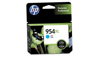 CARTUCHO HP 954XL CYAN (L0S62AL) HIGH YIELD - PRINT CARTRIDGE - 1 X PIGMENTED COMPATIBLE PRODUCTS — HP OFFICEJET 7740 (G5J38A) - OFFICEJET PRO 8210 / 8710 /8720
