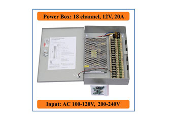CAJA DE DISTRIBUCION POWER BOX PARA CAMARA DE SEGURIDAD CLICKCAM 18 CANALES 20 AMP 110-220V (CC-PD18CH20A/12V)