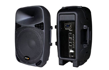 BOCINA MYO, 15 PULGS. SUBWOOFER, 2 ENTRADA DE MICROFONO, LECTOR SD, BLUETOOTH, MP3, MP4, FM, PUERTO USB, 150W, NEGRAS, (MYO-15ASP)