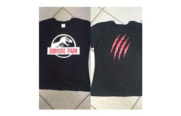 Tshirt algodón vinyl negro, azul, rojo con 2 impresiones
