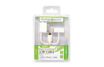 CABLE CARGADOR, MICRO USB, LIGHTNING, APPLE 30 PIN, 3 EN 1, CHARGE WORX 3FT, PARA EQUIPOS ANDROID Y IPHONE (CX9002WH)