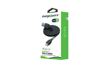 CABLE LIGHTNING PLANO CHARGE WORX (CERTIFICADO) 3FT, PARA IPHONE, NEGRO (CX4536BK)