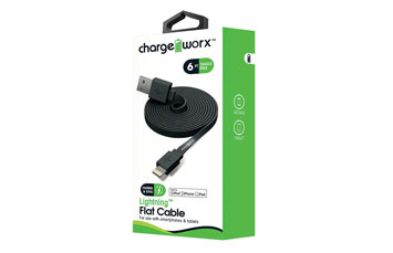 CABLE LIGHTNING PLANO CHARGE WORX (CERTIFICADO) 6FT, PARA IPHONE, NEGRO (CX4506BK)