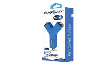 CARGADOR PARA CARRO (Y) CHARGE WORX, DUAL USB 2.1A, AZUL, (CX2103BL)