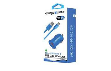 CARGADOR PARA CARRO CHARGE WORX, USB 1.0A, + CABLE MICRO USB, AZUL, (CX3107BL)