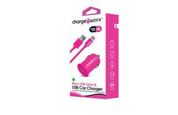 CARGADOR PARA CARRO CHARGE WORX, USB 1.0A, + CABLE MICRO USB, ROSADO, (CX3107PK)