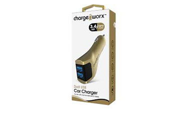 CARGADOR PARA CARRO, CHARGE WORX, DUAL USB 3.4A, DORADO, RAPID CHARGE (CX3039GD)