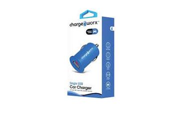 CARGADOR PARA CARRO, CHARGE WORX, USB 1A, AZUL, (CX2100BL)