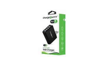 CARGADOR USB, CHARGE WORX, DE ESCRITORIO 4 PUERTOS P/CELULARES,MP3, 3.0 A NEGRO (CX2507BK)