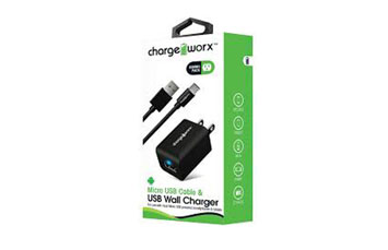 CARGADOR USB, CHARGE WORX, DE PARED P/CELULARES,MP3, 1.0 A + CABLE MICRO USB, NEGRO (CX3108BK)
