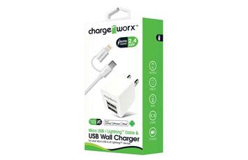 CARGADOR USB, CHARGE WORX, DE PARED P/CELULARES,MP3, 2.4 A + CABLE MICRO USB Y LIGHTNING BLANCO (CX3047WH)