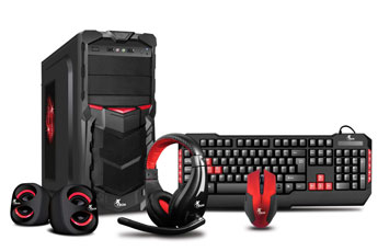 CASE GAMING KIT - XTECH INCLUYE TECLADO - MOUSE - HEADSET - SPEAKERS - NEGRO Y ROJO (XT-GMR-S)