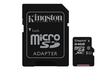 MEMORIA MICROSD 64GB KINGSTON, SDXC, CLASE 10 UHS-1. INCLUYE ADAPTADOR SD.