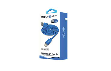 CABLE LIGHTNING CHARGE WORX (CERTIFICADO) 6FT, PARA IPHONE, AZUL (METAL)