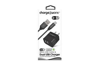 CARGADOR DE PARED MAS CABLE MICRO USB , CHARGE WORX, 2.4AMP, P/CELULARES,MP3, 3.0 NEGRO