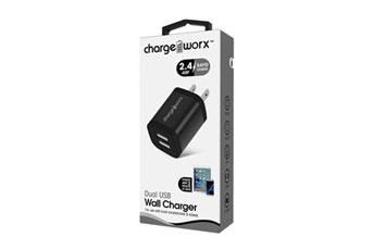 CARGADOR USB, CHARGE WORX, 2.4AMP, 2 PUERTOS P/CELULARES,MP3, 3.0 A NEGRO