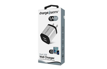 CARGADOR USB, CHARGE WORX, 2.4AMP, 2 PUERTOS P/CELULARES,MP3, 3.0 A SILVER