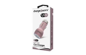 CARGADOR PARA CARRO, CHARGE WORX, DUAL USB 3.4A, ROSADO, RAPID CHARGE