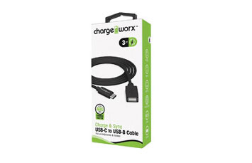 CABLE USB C A USB B, CHARGE WORX (CERTIFICADO) 3FT, NEGRO