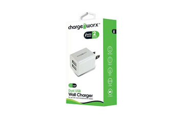 CARGADOR DUAL USB CHARGE WORX DE PARED P/CELULARES, MP3, 2.1A, BLANCO