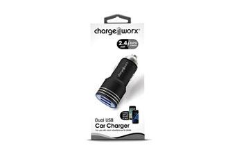 CARGADOR PARA CARRO, CHARGE WORX, DUAL USB 2.4A, CARGA RAPIDA, BLACK