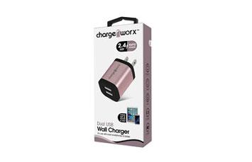 CARGADOR PARA CARRO, CHARGE WORX, DUAL USB 2.4A, CARGA RAPIDA, ROSE GOLD
