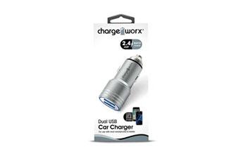 CARGADOR PARA CARRO, CHARGE WORX, DUAL USB 2.4A, CARGA RAPIDA, SILVER