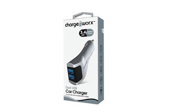 CARGADOR PARA CARRO, CHARGE WORX, DUAL USB 3.4A, SILVER, RAPID CHARGE