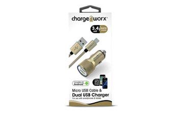 CARGADOR PARA CARRO, CHARGE WORX, DUAL USB 3.4A, CARGA RAPIDA, GOLD, CABLE MICRO USB INCLUIDO