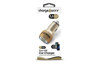 CARGADOR PARA CARRO, CHARGE WORX, DUAL USB 3.4A, GOLD, RAPID CHARGE