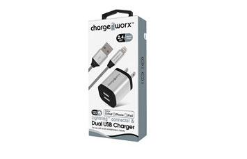 CARGADOR USB CHARGE WORX DE PARED P/CELULARES, MP3, 2.4 A, PLATEADO