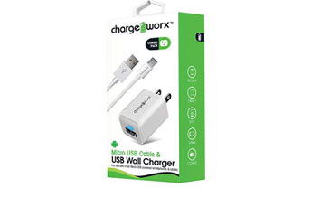 CARGADOR USB, CHARGE WORX, DE PARED P/CELULARES, MP3, 1.0 A + CABLE MICRO USB, BLANCO