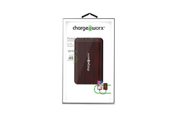 CARGADOR MOVIL CHARGEWORX (POWER BANK), BACKUP BATTERY, 6,000 MAH, OUTPUT 5V/2.4A MAXIMO, COLOR CAOBA