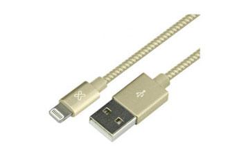 CABLE LIGHTNING KLIPX, TRENZADO 3.3 FT PARA IPHONE, DORADO