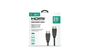 CABLE HDMI 25 PIES COBY, 4K, 2.0 ULTRA-HD, NEGRO.