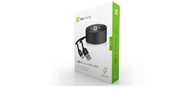 CABLE KLIPX USB TYPE C A USB TYPE A RETRACTABLE, 3.3 PIES, 2.1A NEGRO.