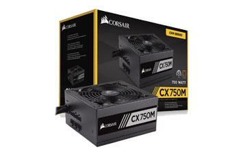 POWER SUPPLY CORSAIR 750W SEMI MODULAR 80 PLUS, CONECTORES PCI-E X2, SATA X6, PATA X6, COLOR NEGRO