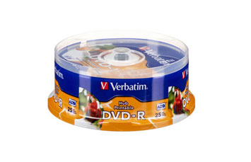 DVD-R VERBATIM 16X, 4.7GB, SPINDLE, WHITE INKJET PRINTEABLE, 25PK