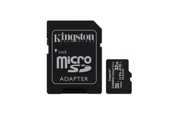 MEMORIA MICROSD 32GB KINGSTON, SDHC, CLASE 10 UHS-1, A1, INCLUYE ADATADOR SD.