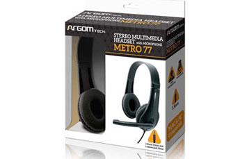 AUDIFONO ARGOM METRO 77, ESTEREO, LONGITUD DEL CABLE: 1.8M (3.5 PIES) CON MICROFONO.