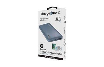CARGADOR MOVIL (POWER BANK) + FLASHLIGHT, CHARGEWORX, BATERIA RECARGABLE 5000 MAH DUAL USB, CARGA RAPIDA