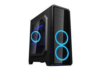 CASE MYO GAMING G550 ,2 VENTILADORES RGB FRONTALES + 1 VENTILADORES RGB TRASEROS, MYO-G550 USB 3.0 + (2) USB 2.0, PANEL IZQUIERDO FULL CLEAR SIN MARCO, FUENTE DE ALIMENTACION NO INCLUIDA.