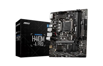MOTHERBOARD MSI H410M-A PRO, SOCKET 1200, CPU I9, CHIPSET INTEL® H410 CHIPSET, DDR4 MEMORY 2933(MAX)/ 2666/ 2400/ 2133 MHZ, MEMORY CHANNEL DUAL, DIMM SLOTS 2, MAX MEMORY (GB) 64, PCI-E X16 1, PCI-E GEN GEN3, PCI-E X1 2, SATAIII 4, M.2 SLOT 2, TPM (HEADER) 1, LAN INTEL® I219V GIGABIT LAN, (FRONTAL) 2(GEN 1, TYPE A), (TRASEROS) 2(GEN 1, TYPE A), DVI-D 1, HDMI 1, DIRECTX 12, FORM FACTOR MIRCO-ATX, WINDOWS® 10 64-BIT