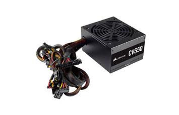 POWER SUPPLY CORSAIR 550 WATTS, 80 PLUS BRONZE (CV550), CONECTORES PCI-E X2, SATA X5, PATA X4, COLOR NEGRO