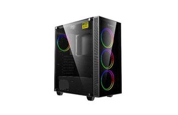 CASE MYO GAMING , 3 VENTILADORES ARGB ARBOL DELANTERO + 1 ARGB TRASERO MYO-G650, VENTILADOR DE ARCO IRIS, USB 3.0 + USB 2.0, PUERTO DE AUDIO, FRENTE DE CRISTAL YLATERAL, SIN SUMINISTRO DE ENERGIA.